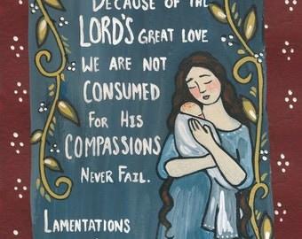 Lamentations sympathy child loss card 5x7 print