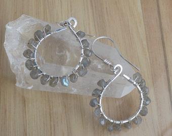 Sterling Silver Gray Labradorite Dangle Hoop Earrings Wire Wrapped in Sterling Silver Wire Wrapped Jewelry Handmade