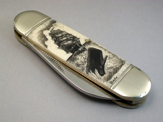 Scrimshaw Nautical Pocket Knife, Ship and Breaching Sperm Whale