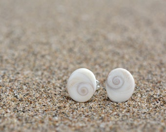 Natural Seashell Earrings - Small White Natural Seashells - Seashell Post Earrings