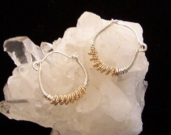 Sterling Silver and Gold Filled Wire Wrapped Hoop Earrings By Sapphireskies Designs