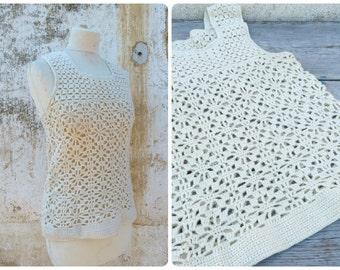 Vintage 1970/70s French Handmade Cream Crochet top /tank / Festival/boho/hippie size S