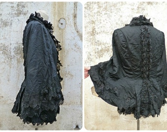 Vintage Antique 1900 Victorian French cape/jacket black silk adorned with lace & jet adornments /capelet/Matinée size S