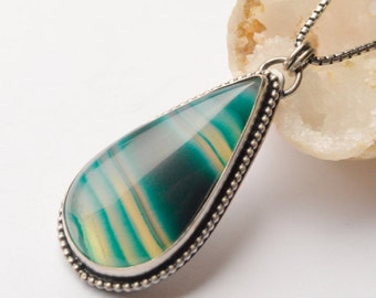 Green Striped Agate Necklace in Sterling Silver, Modern Metalwork Pendant with Drop-Shaped Bezel Set Stone, Eye Catching