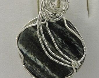Green Silver Lined Jasper in Silver Pendant