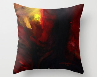 """Red Yellow Pillow, Abstract Painting Watercolor Art, """"Calling Spirit"""" Original abstract art painting by Kathy Morton Stanion  EBSQ"""
