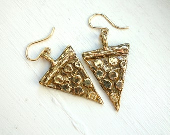 Hand Carved Bronze Pizza Dangles
