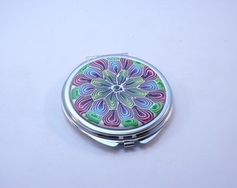 Polymer Clay Embellished Compact Purse Mirror, Colorful Mandala Flower