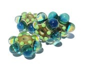 Handcrafted Lampwork Glass Beads Milky Blue Green Bubble Windows  s/4