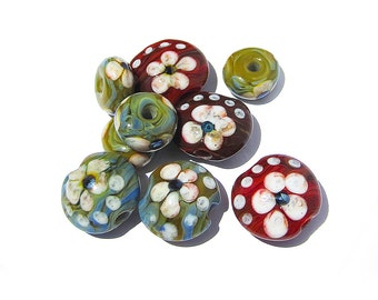 Handmade Glass Lampwork Lentil-shaped Beads with flowers matching spacers