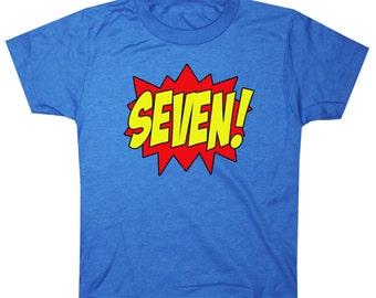 Youth SUPERHERO Seventh Birthday T-shirt - Royal Blue