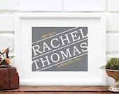 Personalized Name Retro Label Design - Date and City Faux Gold Foil Wedding Decor Engagement Gift Home Decor Guestbook- ANY City or Hometown