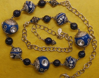 Hand knotted semi precious Lapis, Chinese Art Deco beads and Bali sterling silver beaded necklace