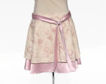 Plus Size Womens Shabby Chic Skirt/ Cream Embellished Linen/ Orchid Pink Bridal Satin