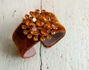Pumpkin Velvet and Rhinestone Cuff