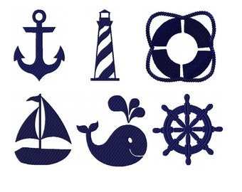 DIGITAL FILE Machine Embroidery Nautical Collection Monochromatic 4x4 Embroidery Design Nautical Nursery Totes Bags