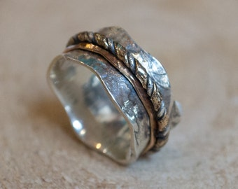 Spinner ring, wedding band, silver gold ring, leaf ring, nature ring, gypsy ring, boho ring, wave band, bohemian ring - Crossing ways R2092