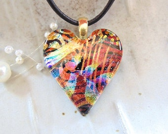 Heart Pendant, Dichroic Pendant, Dichroic Glass Jewelry, Heart, Necklace, Red, Gold, Blue, Necklace Included, One of a Kind, A8
