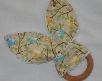 Tan Snips & Snails Owls Rabbit Ears Wooden Teething Ring