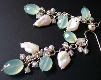 Spring Buds Chalcedony Earrings, Leaf Earrings, Wedding Jewelry, Keshi Pearl Earrings, Spring Flowers Silver Earrings
