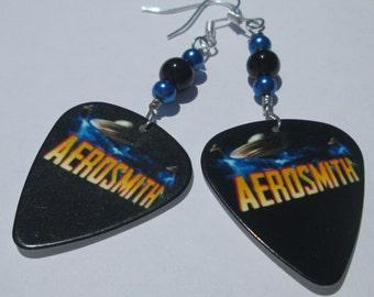 Pierced Earrings Aerosmith earrings guitar pick pierced dangle hand made wire wrapped Music earrings by Ziporgiabella