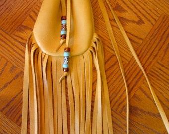 """Artisan Made Leather Medicine Bag Fringed Buckskin Gold Colored Deerskin Fringe Beads """"GoLD BEADED MEDICINE BAG"""" Handmade by Debbie Leather"""