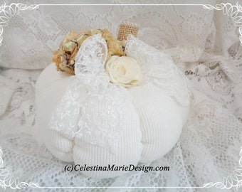 Ivory Sweater Pumpkin and Lace, Hand Created, Sewn, Accented, Harvest Decorating, Fall, Autumn, Collectible, ECS