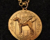 "GREAT DANE ANGEL Locket Necklace.Natural Ears.""Uncropped Ears"" Guardian Angel Jewelry.Gifts for Dog Lovers by Cloud K9 .Photo Locket Pendant"