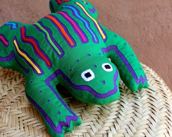 SALE! Fabulous Mola Frog Pillow - Whimsical, Hand-Sewn Kuna Indian Reverse Applique