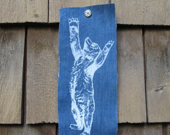 Reaching Black Bear Cub Silk Screen Print Patch on Cotton Blue Denim with Black or White Ink Original Illustration