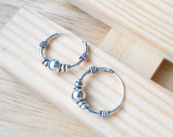 14 mm Karen hill tribe silver hoop earrings, Bali style jewelry hinged hoop earrings Nose Cartilage Ring, Tribal style KT01