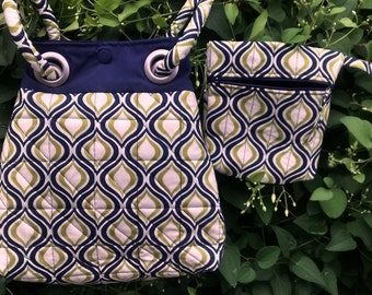 Quilted Tote with Grommets and Wristlet Bag to Match