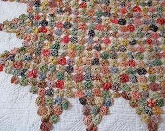 Antique Yoyo Quilt Piece - Hand Stitched