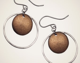 mixed metal hoop earrings, sterling silver nova