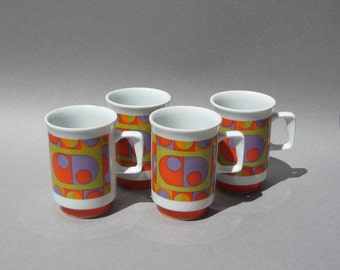 1970s Mod Mugs Set of Four Graphic Design Dots Coffee Cups Japan Orange Green Purple