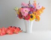 RESERVED LISTING Vintage Milk Glass Vase Wedding Flower Vase Wedding Decoration Shabby Cottage Vase