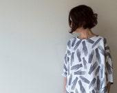 Grey Hands Palmistry Print Linen Dress