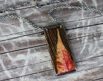 "autumn sumac leaf necklace with a 16"" - 20"" chain"