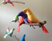 Beautiful 11 Bird Mobile in a Spectrum of Colors - A Kinetic Beauty