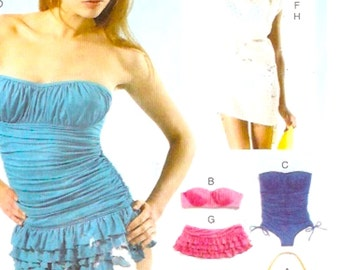 One piece swimsuit resort bikini wear top and cover up sewing pattern McCalls 6569 Sz 12 to 20 Uncut