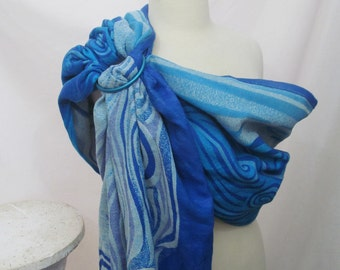 SALE - Ring Sling Baby Carrier Wrap Conversion Lenny Lamb Blue Waves - thick toddler sling/rings on left- DVD included - Gathered shoulder