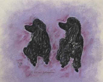 Two Poodles Original Dog Art Pastel Drawing By Cori Solomon