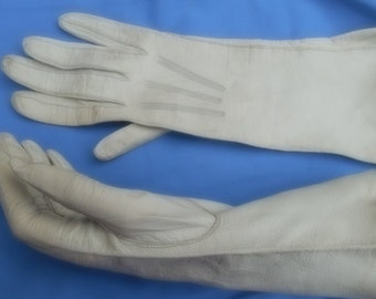 Vintage French long length leather gloves
