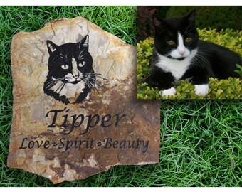 Cat Custom Drawing Pet Memorial Stone - LARGE