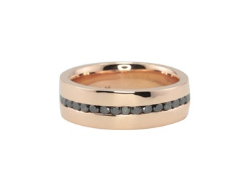 Black Diamond Ring, Man's Channel Set Black Diamond Eternity Wedding Band - Contemporary and Comfort Fit - LS2930