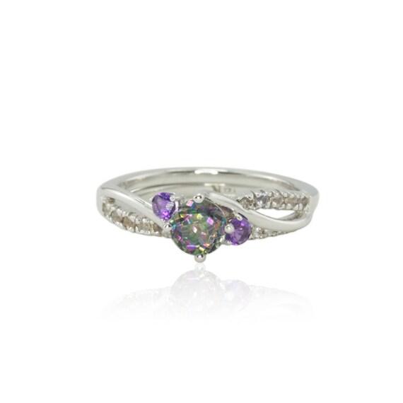 Engagement Ring Rainbow Mystic Topaz Ring Mystic Topaz Ring