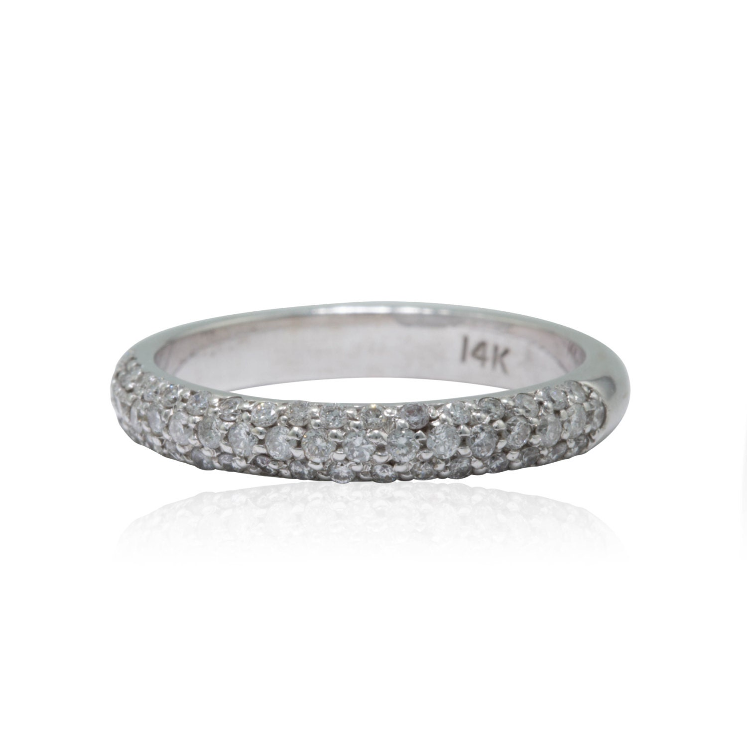Pavé Bands: Diamond Wedding Band Diamond Pave Wedding Band 3 Row Half