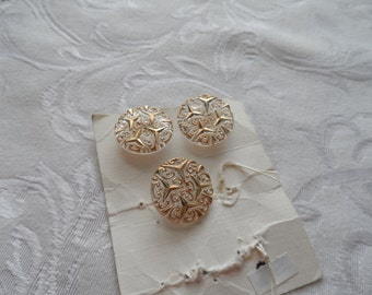 3 Vintage Glass Buttons- Clear with Gold Hightlights