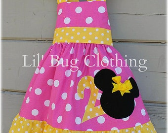 Custom Boutique Clothing Bubble Gum Pink Personalized  and Yellow Minnie Mouse Halter Dress