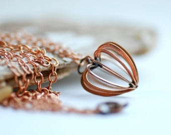Heart Necklace, Copper Necklace, Long Copper Necklace, Rustic Jewelry, Girlfriend Gift, Heart Cage Pendant Necklace, Romantic Jewelry